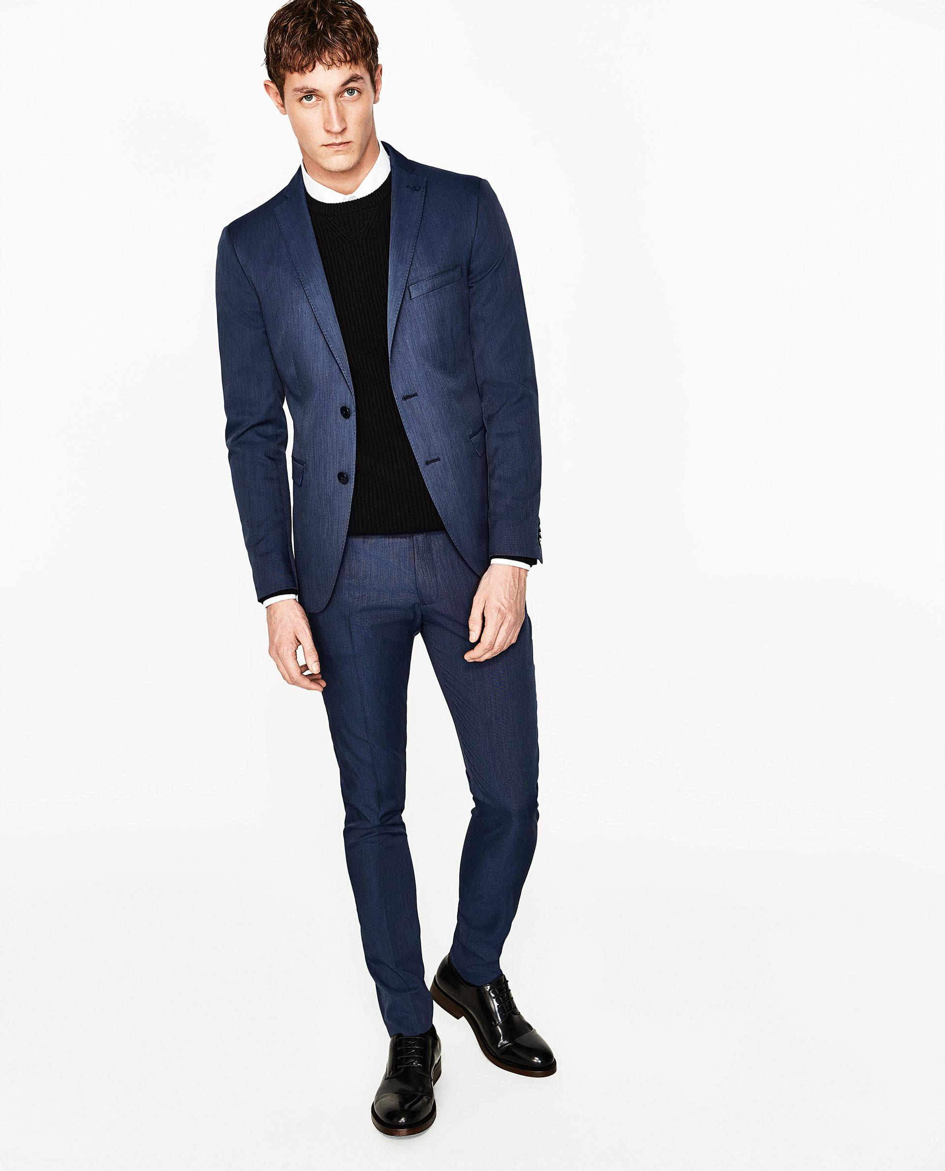 Zara Coolmax Suit Trousers In Blue For Men | Lyst