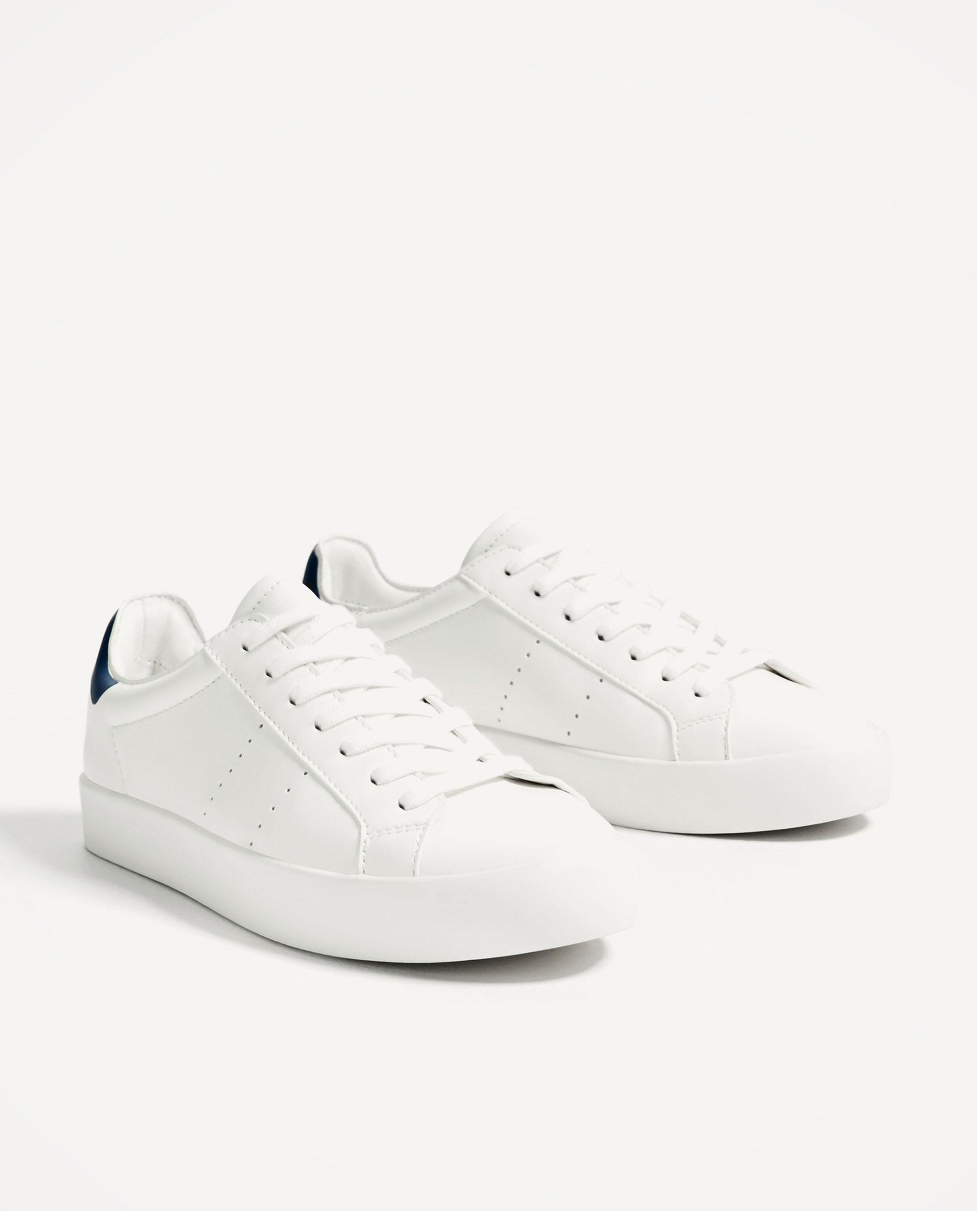 zara basic white sneakers in white lyst