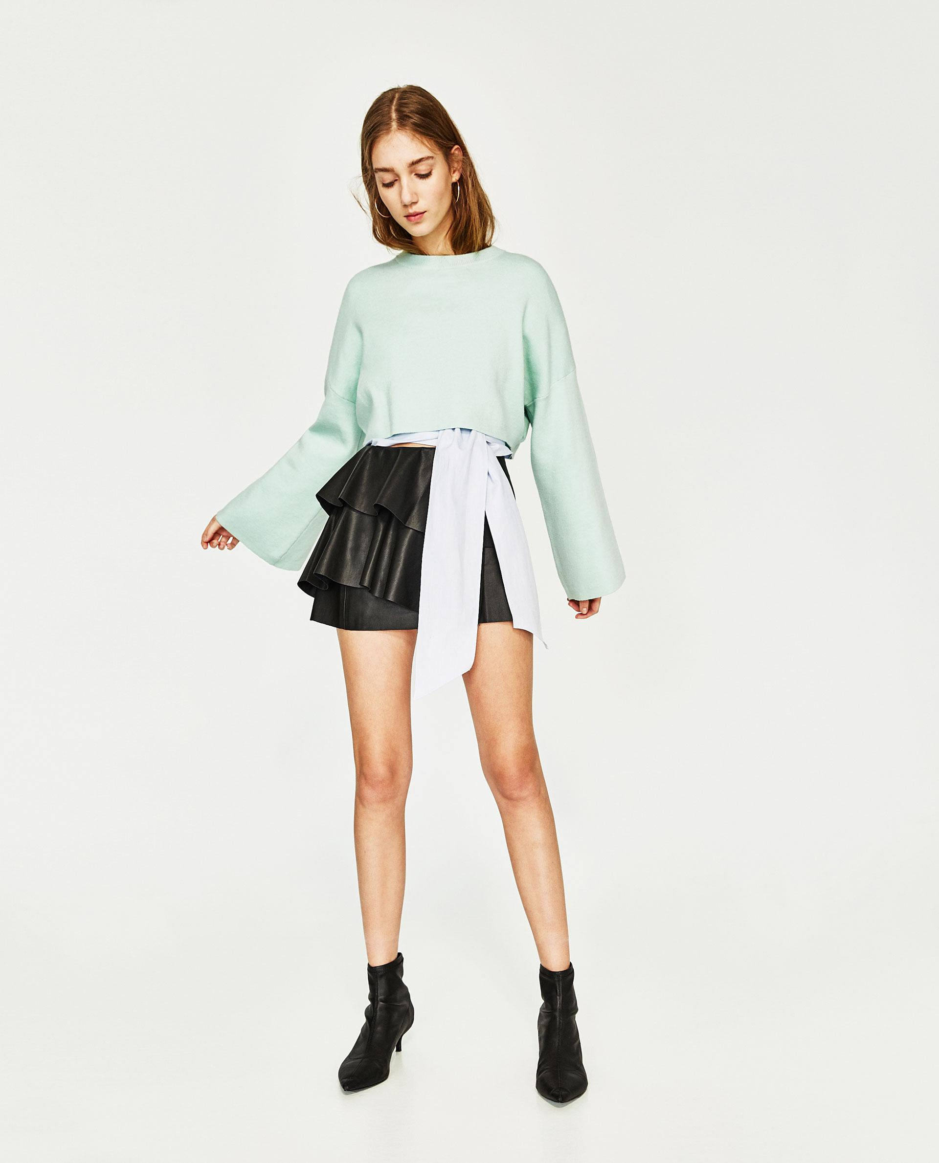 zara leather effect mini skirt with frills in black lyst