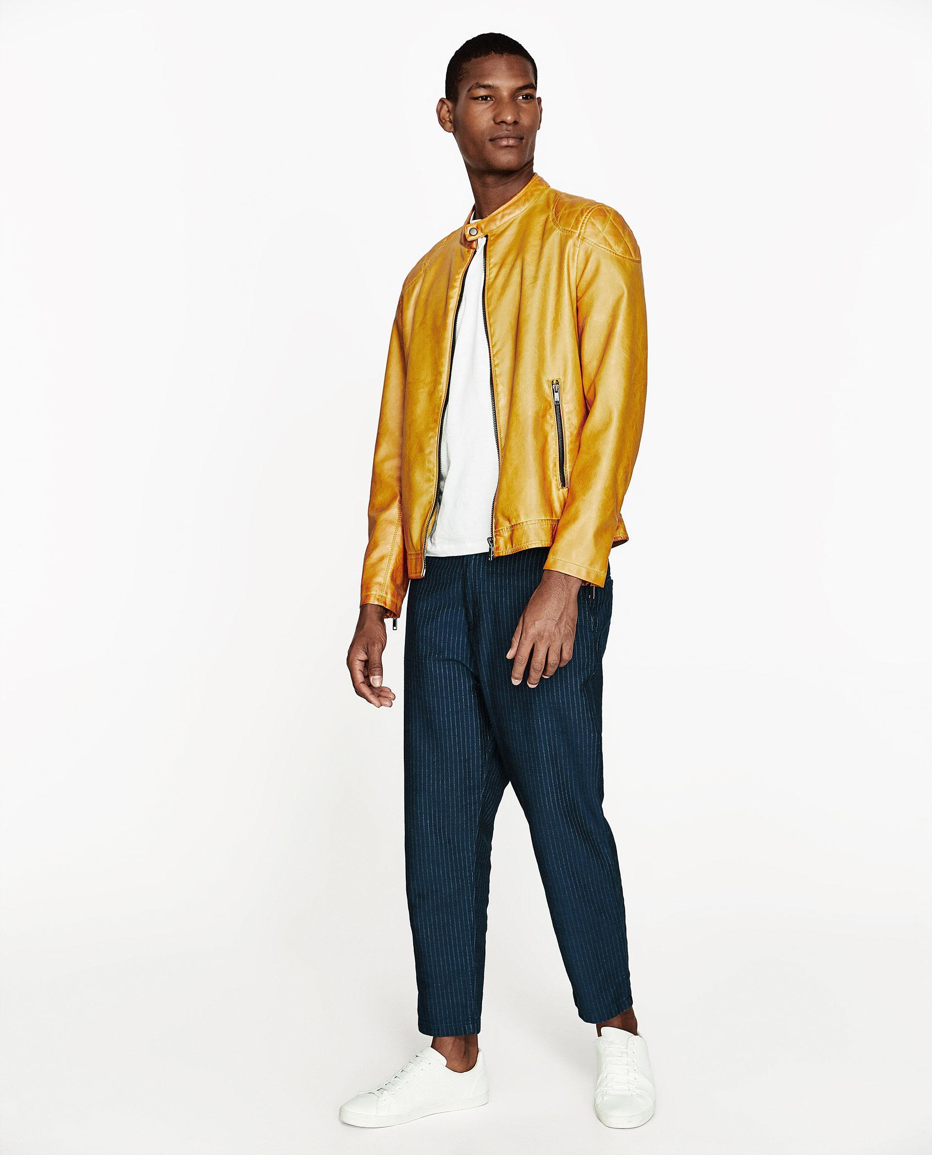 Leather jacket yellow zara - Zara Men S Yellow Faux Leather Jacket
