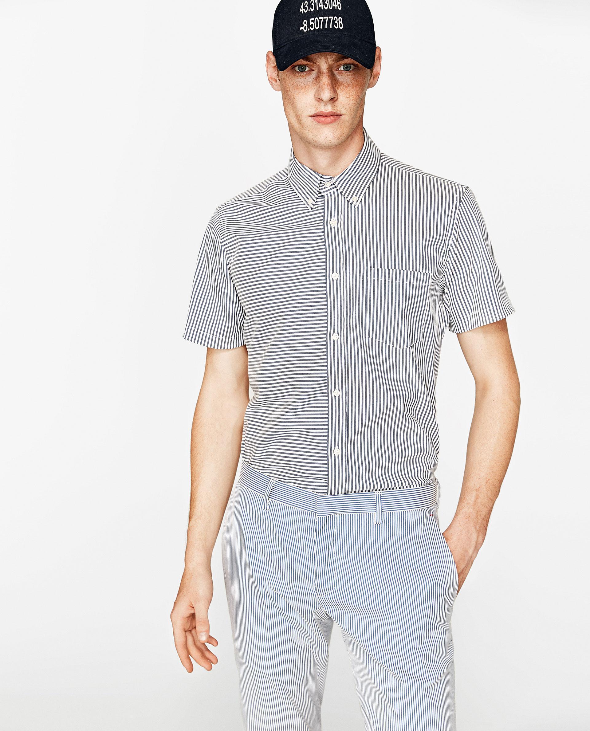 Zara striped seersucker shirt for men lyst for Zara mens shirts sale