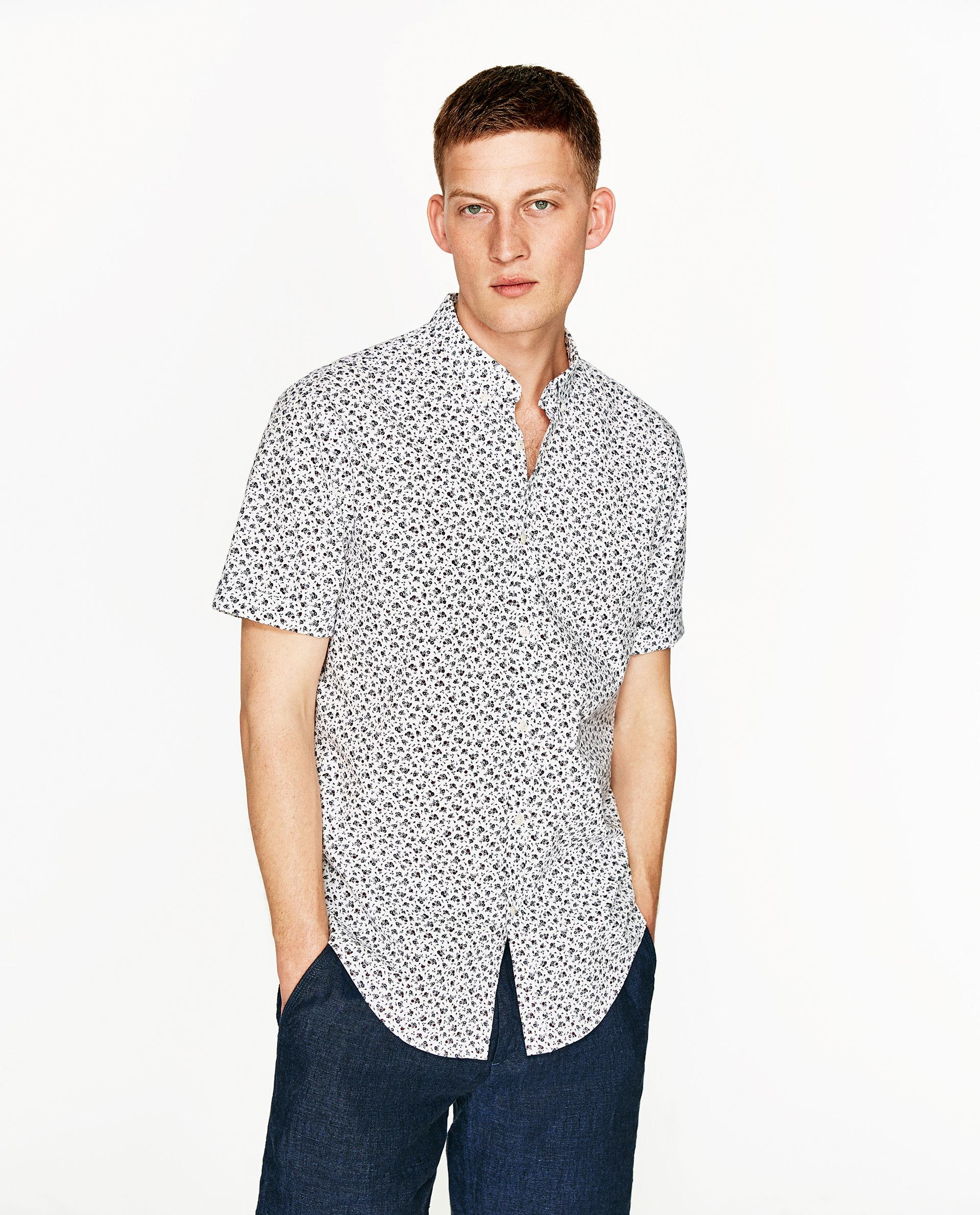 Zara floral print shirt in white for men lyst for Zara mens floral shirt