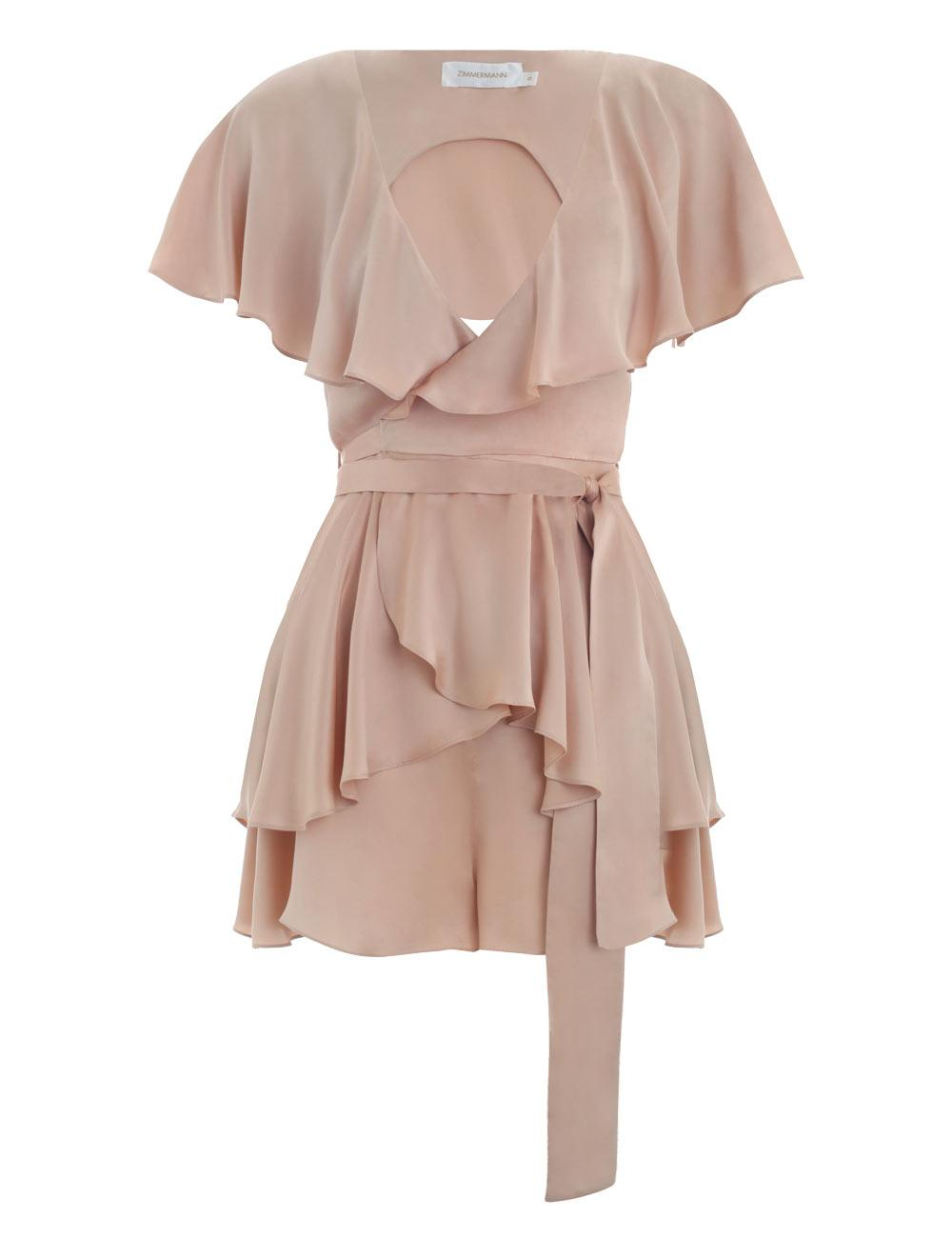 01afb12c9bd zimmermann wrap playsuit peach nude sueded silk maples cocktail party
